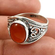 Oval Shape Carnelian Gemstone Jewelry 925 Solid Sterling Silver Ring Size 7 U24