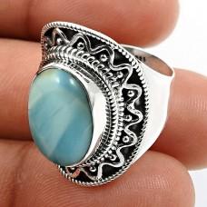 Oval Shape Larimar Gemstone HANDMADE Jewelry 925 Sterling Silver Ring Size 6 V24