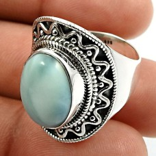 Oval Shape Larimar Gemstone HANDMADE Jewelry 925 Sterling Silver Ring Size 8 W24