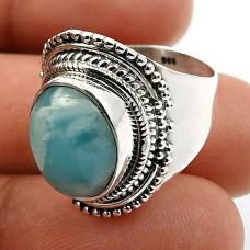 925 Sterling Fine Silver Jewelry Oval Shape Larimar Gemstone Ring Size 6 Z25