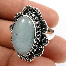 Oval Shape Aquamarine Gemstone Ring Size 6.5 925 Sterling Silver Jewelry B23