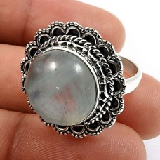925 Sterling Silver Jewelry Round Shape Aquamarine Gemstone Ring Size 7 I23