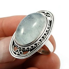 Oval Shape Aquamarine Gemstone Jewelry 925 Solid Sterling Silver Ring Size 7 Q3