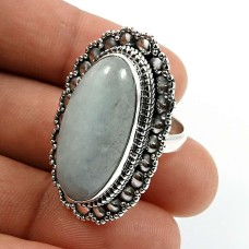 Oval Shape Aquamarine Gemstone Ring Size 6 925 Solid Sterling Silver Jewelry Y23