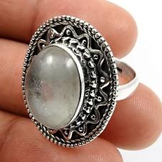 925 Sterling Silver Jewelry Oval Shape Aquamarine Gemstone Ring Size 6 E24