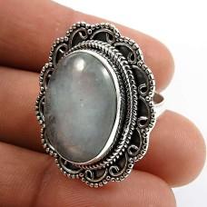 Oval Shape Aquamarine Gemstone Ring Size 6 925 Sterling Silver Fine Jewelry L24