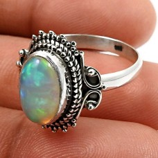 HANDMADE 925 Sterling Silver Jewelry Oval Shape Opal Gemstone Ring Size 8 D27