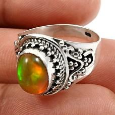 HANDMADE 925 Sterling Silver Jewelry Oval Shape Opal Gemstone Ring Size 6 M27