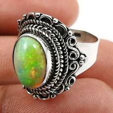 Oval Shape Opal Gemstone Jewelry 925 Fine Sterling Silver Ring Size 6 X27