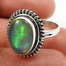Oval Shape Opal Gemstone Ring Size 6 925 Solid Sterling Silver Jewelry F28