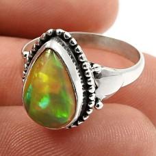 925 Sterling Fine Silver Jewelry Pear Shape Opal Gemstone Ring Size 7 L28