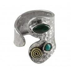 Sterling Silver Jewellery Designer Malachite & Turquoise Gemstone Ring