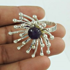 Pretty Amethyst Gemstone Flower Ring 925 Sterling Silver Gemstone Jewellery