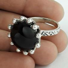 Graceful Black Onyx Gemstone Ring Sterling Silver Jewellery Mayorista
