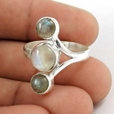 925 Sterling Silver Antique Jewellery Beautiful Labradorite & Rainbow Moonstone Gemstone Ring De gros
