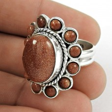 925 Sterling Silver Jewellery Charming Red Sun Sitara Gemstone Ring Supplier India