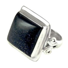 925 Sterling Silver Gemstone Jewellery Charming Blue Sun Sitara Gemstone Ring Supplier India