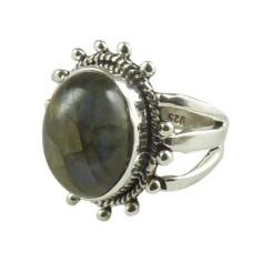 Trendy 925 Sterling Silver Labradorite Gemstone Ring Jewelry