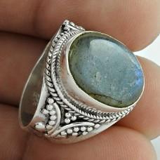 925 Sterling Silver Antique Jewellery Designer Labradorite Gemstone Ring