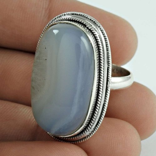 925 Sterling Silver Jewellery High Polish Blue Lace Agate Gemstone Ring Fabricant