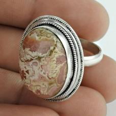 Classy!! Rhodochrosite 925 Sterling Silver Ring