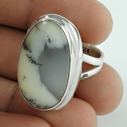 925 Sterling Silver Gemstone Jewellery Fashion Dendritic Opal Gemstone Ring Großhandel