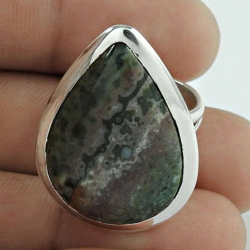 925 Sterling Silver Fashion Jewellery Beautiful Ocean Jasper Gemstone Ring