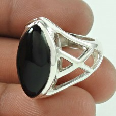 Black Onyx Gemstone 925 Sterling Silver Designer Ring Jewellery