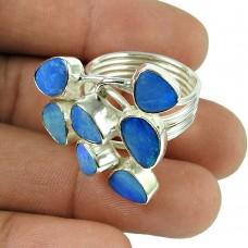 Dainty Opal Gemstone Ring 925 Sterling Silver Vintage Jewellery