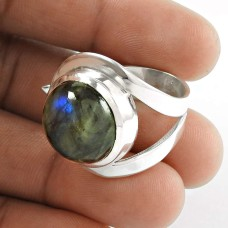 Big Amazing! 925 Silver Labradorite Gemstone Ring