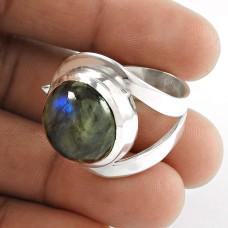 Big Amazing! 925 Silver Labradorite Gemstone Ring