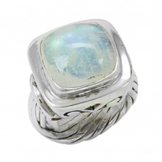 Fashion Design! 925 Silver Rainbow Moon Stone Ring