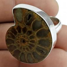 Classy Design! 925 Silver Ammonite Fossil Ring