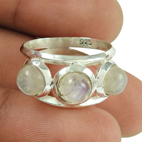 Sightly Rainbow Moonstone Ring Indian Sterling Silver Jewellery