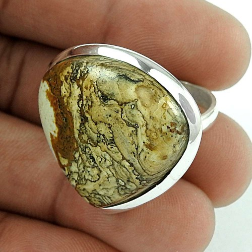 925 Sterling Silver Antique Jewellery Beautiful Picture Jasper Gemstone Ring De gros