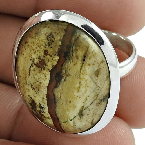 Sterling Silver Fashion Jewellery High Polish Picture Jasper Gemstone Ring Grossiste