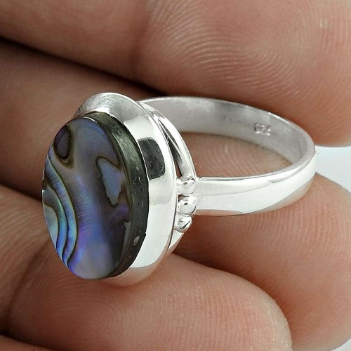 Just Perfect! 925 Silver Abalone Shell Ring