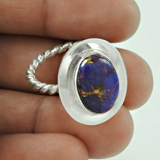 925 Sterling Silver Gemstone Jewellery Charming Purple Copper Turquoise Gemstone Ring Exporter India