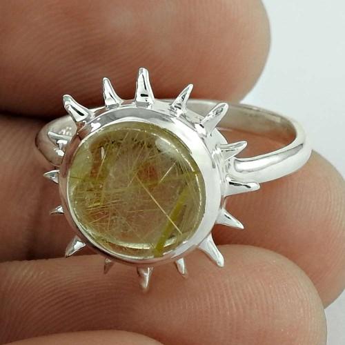 Excellent Golden Rutile Gemstone Ring 925 Sterling Silver Vintage Jewellery