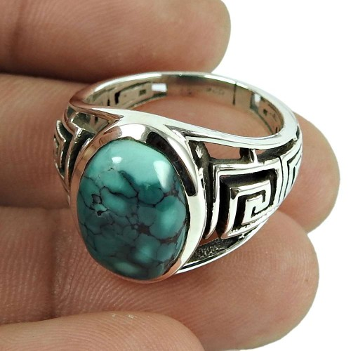 Charming Turquoise Gemstone Ring 925 Sterling Silver Vintage Jewellery