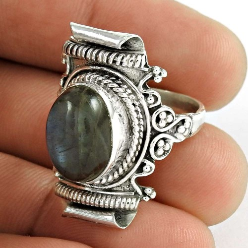 Large Fashion! 925 Silver Labradorite Ring Lieferant