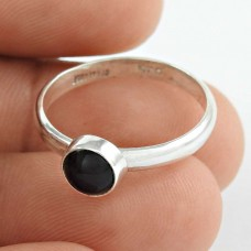 925 Sterling Silver Jewellery Ethnic Black Onyx Gemstone Ring Fabricante