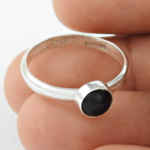 Sterling Silver Indian Jewellery High Polish Black Onyx Gemstone Ring Wholesale Price