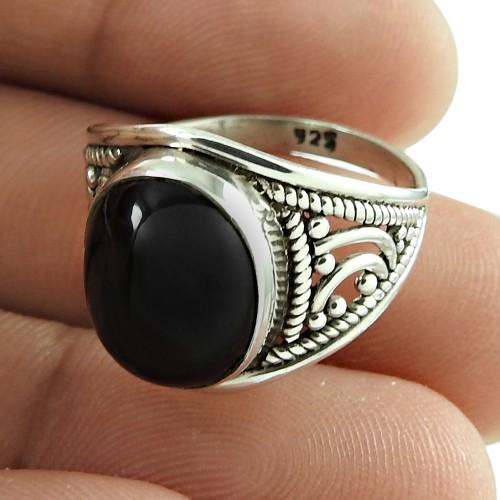 Designer Black Star Gemstone Ring 925 Sterling Silver Indian Jewellery