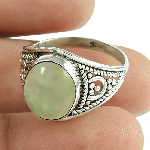 Daily Wear Prehnite Gemstone Ring 925 Sterling Silver Jewellery Wholesale Price