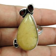Daily Wear Aventurine, Garnet Gemstone Ring Sterling Silver Fashion Jewellery