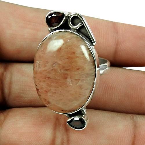Fashion Dynestic Jasper, Garnet Gemstone Ring 925 Silver Jewellery