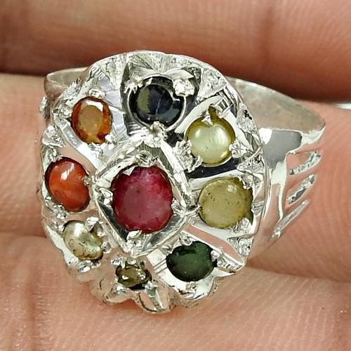 Daily Wear Navratan Gemstone Ring 925 Sterling Silver Vintage Jewellery