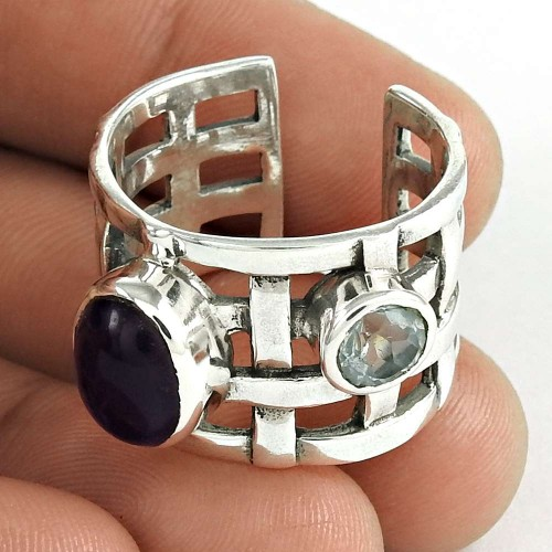 925 Sterling Silver Antique Jewelry Designer Amethyst, Blue Topaz Gemstone Ring Supplier