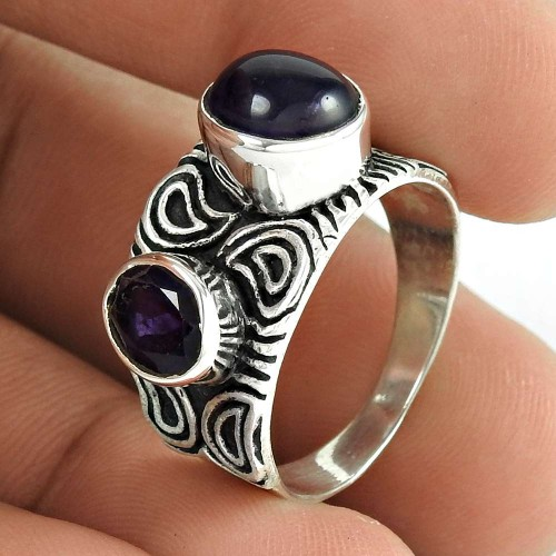 925 Sterling Silver Fashion Jewelry Trendy Amethyst Gemstone Ring